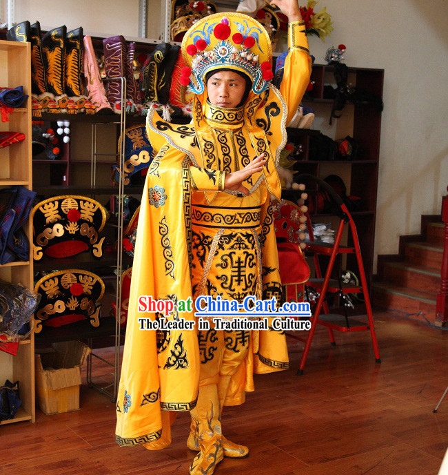 Sichuan's Face Changing Mask Performing Art Costume Pants Belt Hat and 10 Masks Complete Set for Men