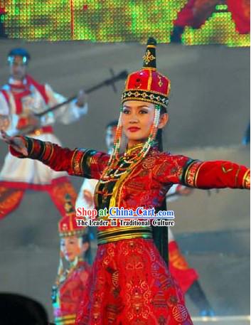 Traditional Chinese Mongolian Ethnic Clothing and Hat for Women
