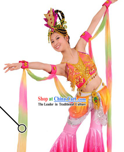 Traditional Chinese Long Ribbon Dancing Costumes and Headwear for Women