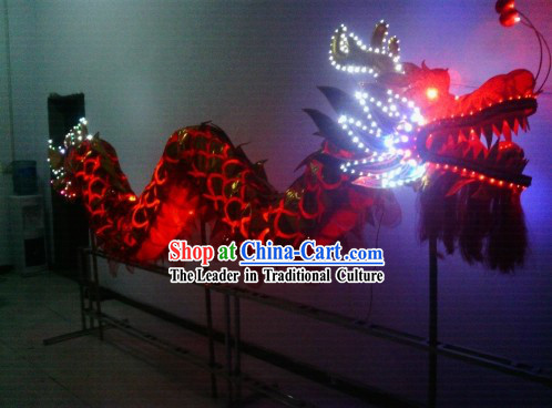 LED Lights Dragon Dance Costumes Complete Set for 4 People