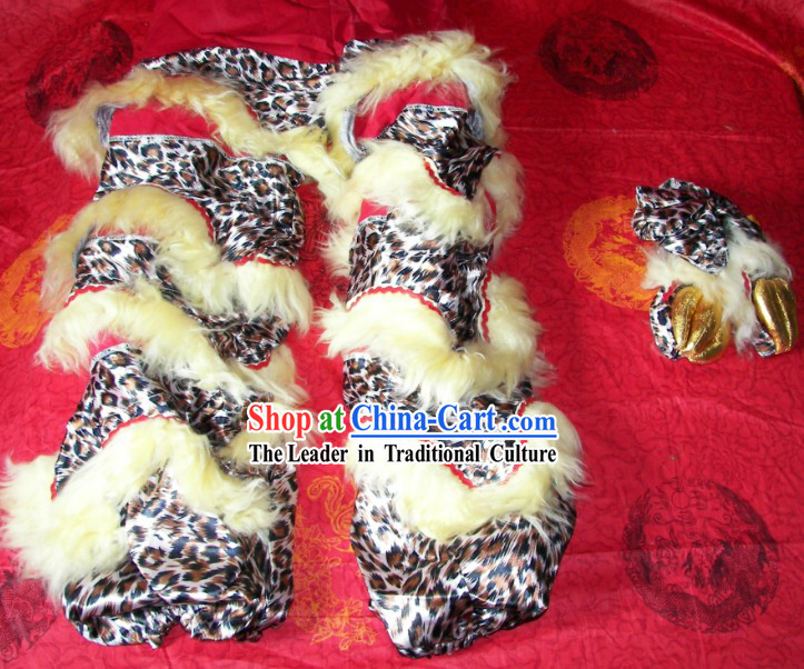 Leopard Pattern Chinese Festival Celebration One Pair of Lion Dance Pants and Shoes Covers