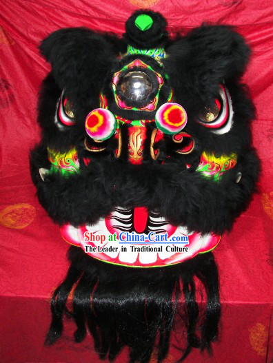 Top Quality Black Wool Green Underneath Lion Dance Costumes Complete Set