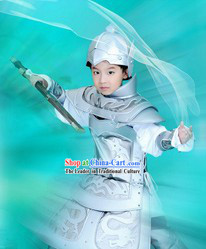 Ancient Traditional Chinese Prince Silver Color Armor Costumes and Hat Complete Set for Kids