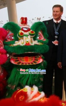 Traditional Hok San Type Green Long Wool Lion Dance Costumes Full Set