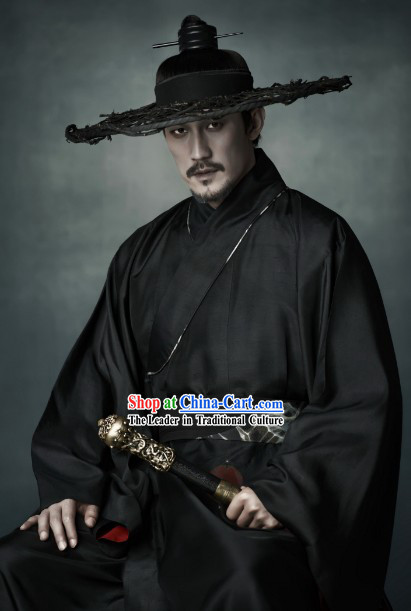 Black Ancient Chinese Swordsman Clothing and Bamboo Hat for Men
