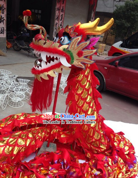 Red Color Chinese Lunar New Year Events Celebration Dragon Dance Costumes Complete Set