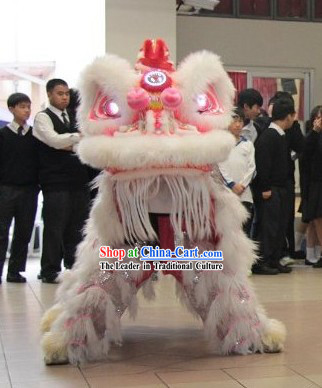 White Wool Chinese Big Festival Celebration Lion Dance Costumes Complete Set