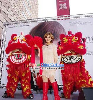 Red Color Chinese Lunar New Year Events Lion Dancing Head and Body Costumes Complete Set