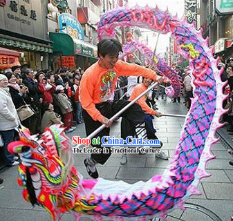 Purple Color Professional Glow in the Dark Ultra Violet Dragon Dance Equipments Complete Set