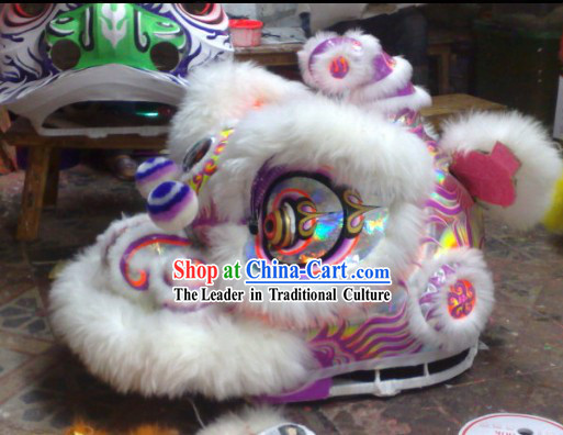 Laser Style White Wool Hok San Performance and Competition Top Lion Dance Costumes Complete Set