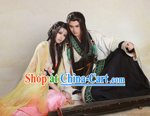 Chinese Fairy Couple Clothes and Headpieces Complete Set