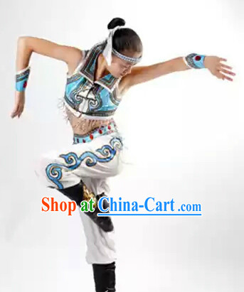 Chinese Mongolian Dance Costumes and Headwear Complete Set for Women