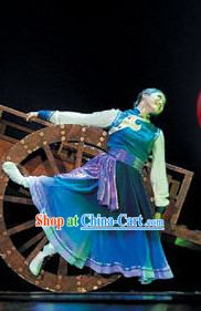 Mongolian Dance Costumes and Headdress Complete Set for Women
