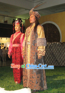 Ancient Chinese Chanyu's Costume and Hat Complete Set for Men