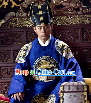 Ancient Korean Emperor Costumes and Hat Complete Set for Men