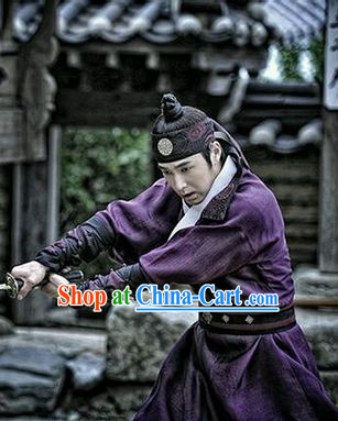 Ancient Korean Imperial Swordman Costumes and Headwear Complete Set