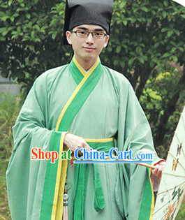 Traditional Chinese Han Fu Suit and Hat Complete Set for Men