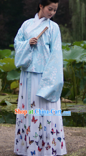 Ancient Chinese Ming Dynasty Coat and Butterfly Skirt Complete Set