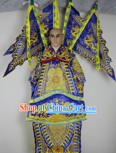 Chinese Ancient Hero General Opera Costumes and Flags Complete Set