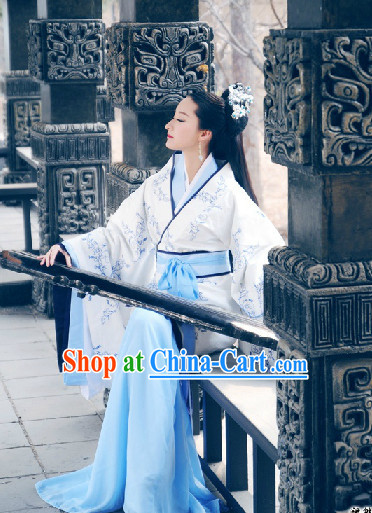 Traditional Chinese Hanfu Musician Clothes Complete Set for Women