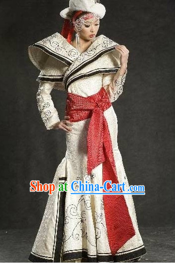 Mongolian Princess Long Robe and Hat Complete Set