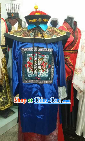 Ancient Chinese Official Clothing and Hat Complete Set for Men