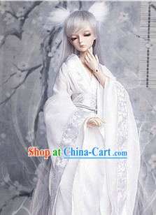 Pure White Cosplay Costumes and Headwear Complete Set
