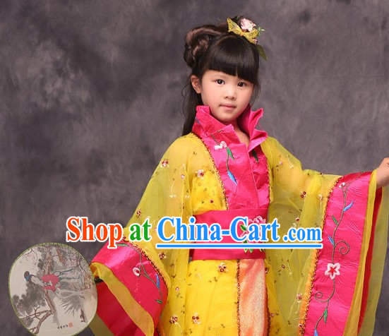 Yellow Long Trail Ancient Chinese Princess Costumes for Kids