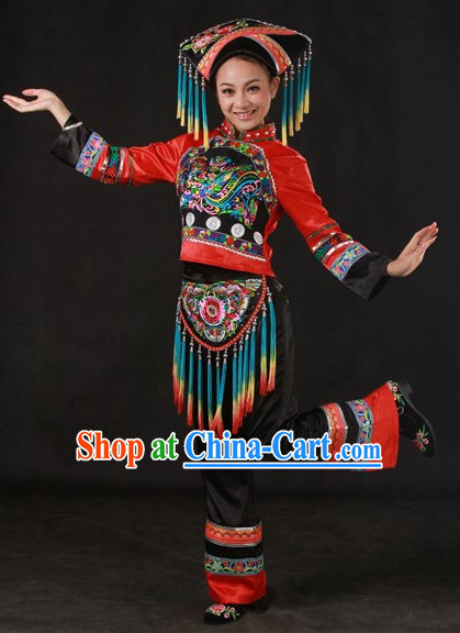 Folk Miao People Uniform and Hat Complete Set for Girls