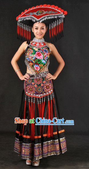 Zhuang Ethnic Minority Female Clothing and Hat Complete Set