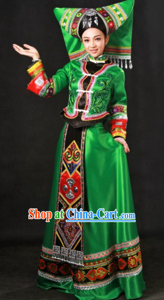Top Zhuang Ethnic Minority Clothes and Hat Complete Set