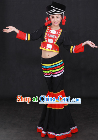 Achang Ethnic Minority Clothes and Hat for Girls