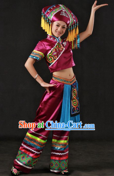 Traditional Chinese Zhuang Stage Performance Costumes and Headwear for Women