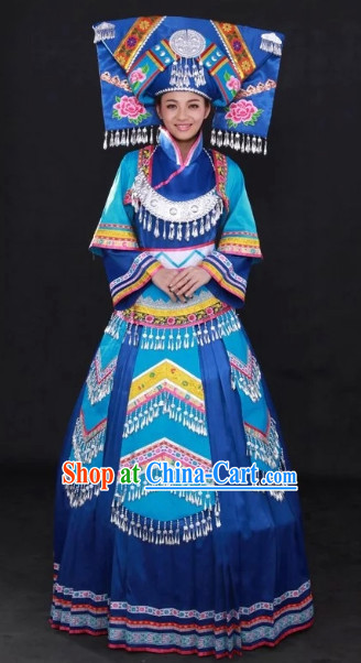 Buyi Ethnic Minority Folk Dance Rcital Costumes and Hat Complete Set