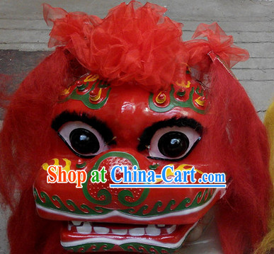 Red Face Smiling Beijing Lion Dance Head