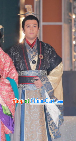 Ancient Chinese Chunqiu Time Imperial Prince Costumes and Crown Complete Set