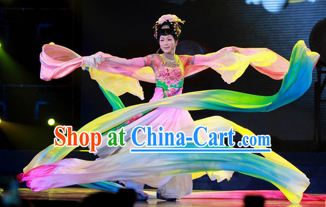 Ancient Chinese Imperial Palace Empress Dance Costumes and Headwear Complete Set