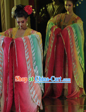 Wide Sleeves Chinese Classical Dance Costumes and Hair Accessories Complete Set