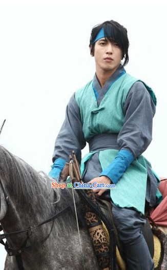 Ancient Korean Knight Costumes and Headwear Complete Set for Men