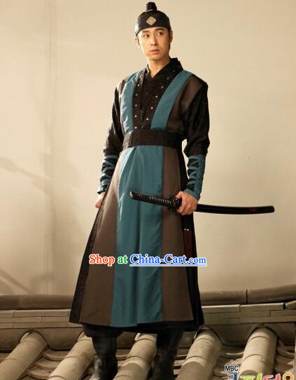 Traditional Korean Swordman Costumes and Headwear Complete Set