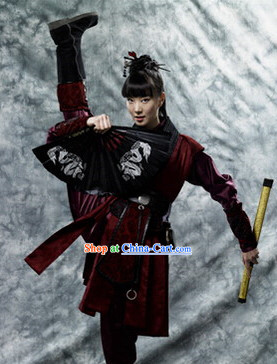 Ancient Korean Black Swordwoman Costumes Complete Set
