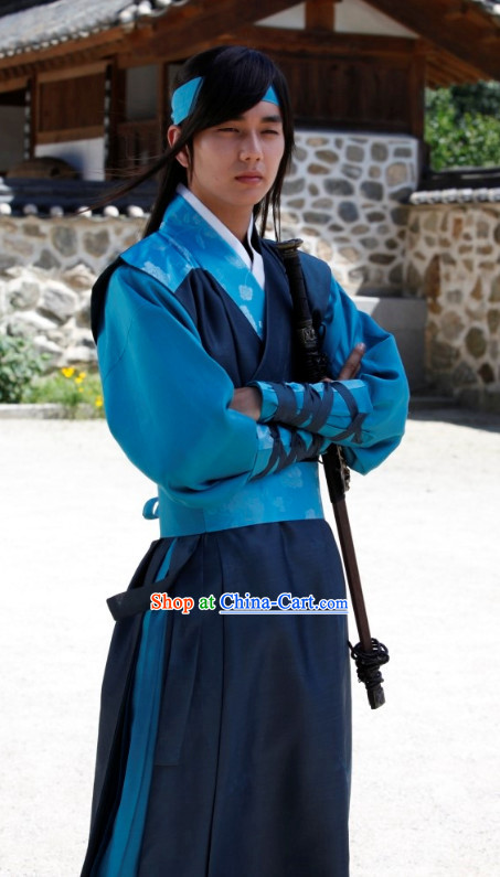 Traditional Korean Hero Costumes and Head Band for Men