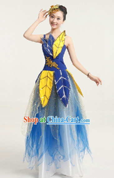 Enchanting Effect Leaf Dance Costume and Headwear Complete Set for Women