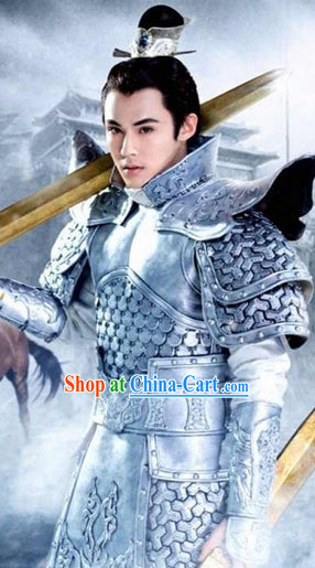 Ancient Chinese General Armor Film Costumes and Coronet Complete Set