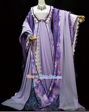 Asian Purple Princess Traditional Clothes Complete Set