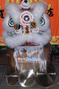 White and Black Ceremonial Fut San Lion Dance Costumes Complete Set