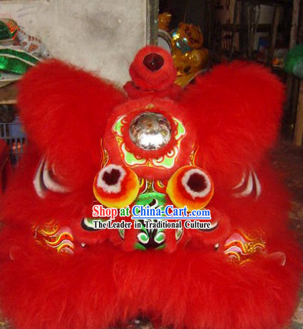 Congratulate on Chinese New Year Ancient Coins Pattern Long Wool Lion Dance Costumes Complete Set