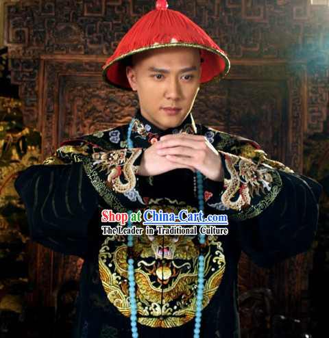 Qing Dynasty Imperial Palace Royal Family Member Chieftain Clothing and Hat for Men