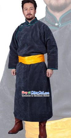 Traditional Chinese Genghis Khan Mongolian Long Thick Robe for Men