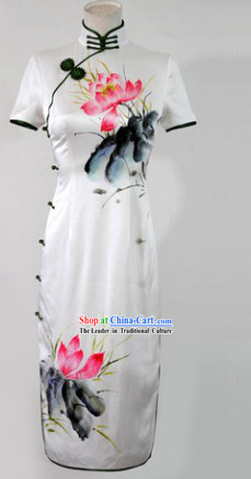 Chinese Classical Silk Hands Painted Lotus Long Cheongsam for Women